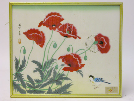 Poppies and a Blue Tit