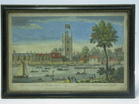 North view of St Marys Church, Battersea from across the Thames, London