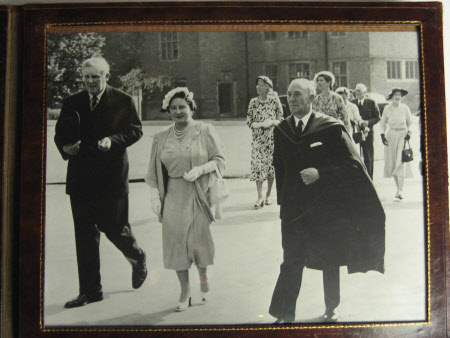 Sir John Heathcoat-Amory, 3rd Bt (1894-1972) with Queen Elizabeth, the Queen Mother (1900-2002) and ...
