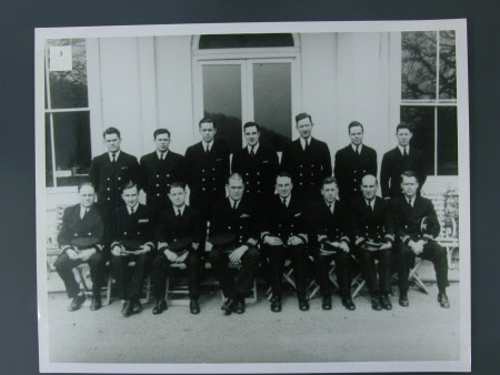 Group of US Navy personnel outside Greenway House, Devon