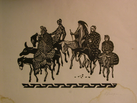 Six bedouin figures on donkeys.