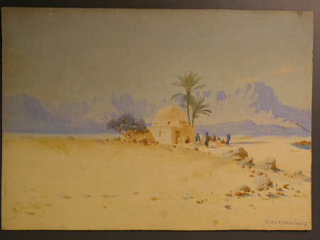 A Desert Scene with Mosque and Mountains
