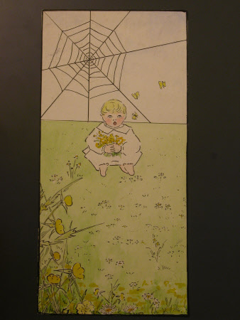 A Child with Flowers and a Spider's Web