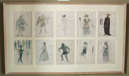 Ten costume designs for 'The Tempest', by William Shakespeare: (k) Sebastian, (l) Ariel, (m) ...