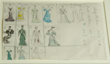Sketches for costumes for a production of 'An Ideal Husband' by Oscar Wilde