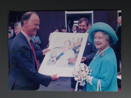 Queen Elizabeth (1900-2002) (Elizabeth the Queen Mother) and unknown gentleman