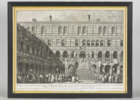 Coronation of a Venetian Doge, view of the Staircase of the Giants in the Ducal Palace in Venice ...