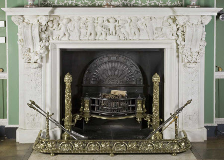Chimneypiece with frieze depicting a grape harvest and putti treading grapes in a wine cistern, ...