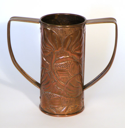 Two handled mug with a fish design