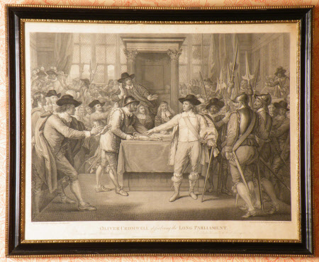 Oliver Cromwell dissolving the Long Parliament, 20 April 1653 (after Benjamin West)
