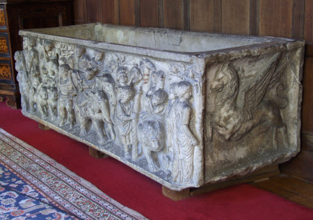 Roman sarcophagus with the Triumph of Bacchus and griffins