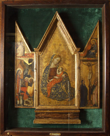 Triptych: The Madonna of Humility (centre); The Nativity (left); The Crucifixion (right); The ...