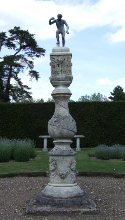 Sundial, surmounted by the 'Dancing Faun' also known as the 'Faun with Clappers'