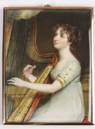 An Unknown Girl Playing a Harp