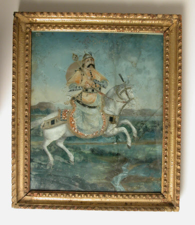 A warrior possibly an early Rajput hero, shown riding a white charger