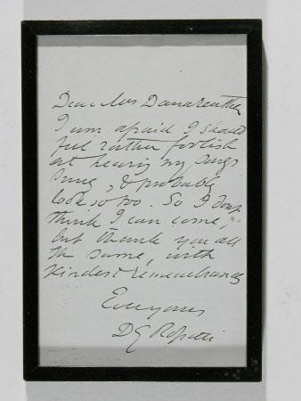Letter from DG Rossetti to a Mrs Dank