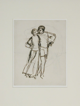 Man and Woman with arms entwined moving to the left