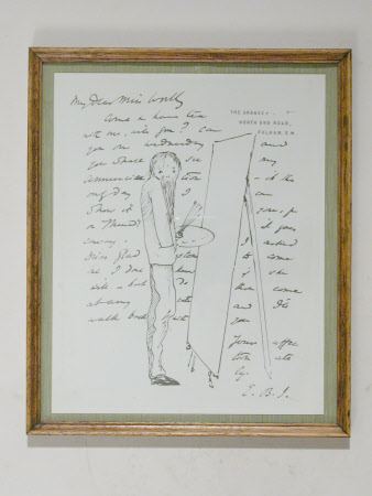 Photograph of illustrated letter with self-caricature