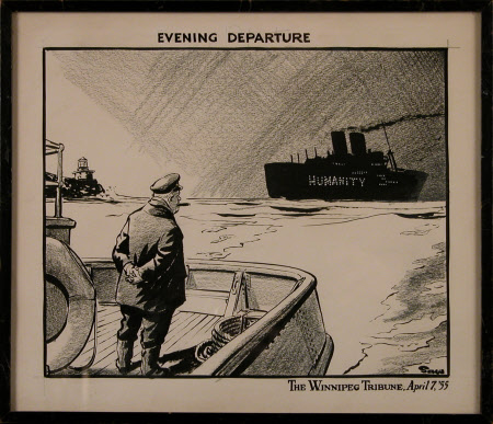 Evening Departure: Winston Churchill standing on the deck of a tug watching the ship of 'Humanity' ...