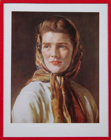 The Hon. Mary Churchill, Dame Mary Soames (1922-2014) wearing a headscarf by Oswald Birley