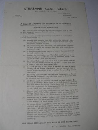Golf club rules leaflet