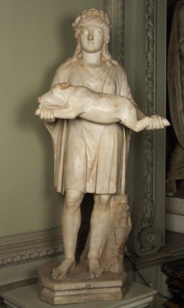 Statue of a Boy holding a Pig