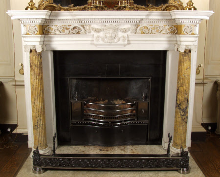 Chimneypiece with Ionic columns and a central mask head, Square Dining Room, Petworth House, West ...