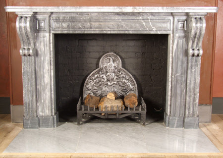 Chimneypiece with ornamental volute brackets, North Gallery, Petworth House, West Sussex