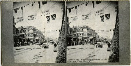 Queen-street, Auckland - Decorated for the American Fleet Visit