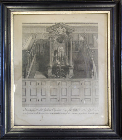 Rt. Hon. Arthur Onslow (1691–1768). Speaker, in his seat in St Margarets Church Westminster, the ...