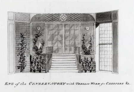 'Elevation' of the east end of the Conservatory at Wimpole Hall, Cambridgeshire