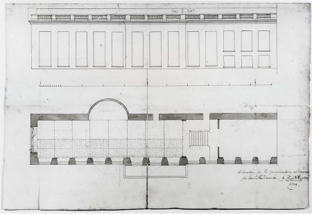 Proposed ground plan and south elevation of the Conservatory at Wimpole Hall, Cambridgeshire