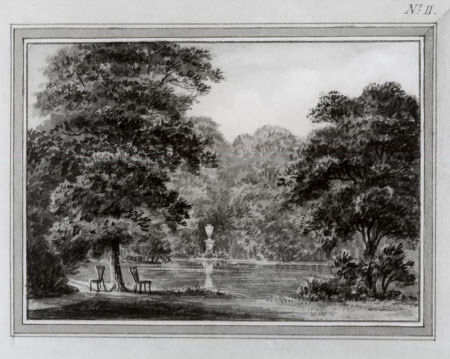 View of the lake-edge with an urn at Wimpole, Cambridgeshire, Plate II from the Wimpole Red Book