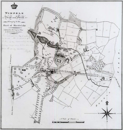 Map (copy) of the Park at Wimpole, Cambridgeshire, from the Wimpole Red Book.