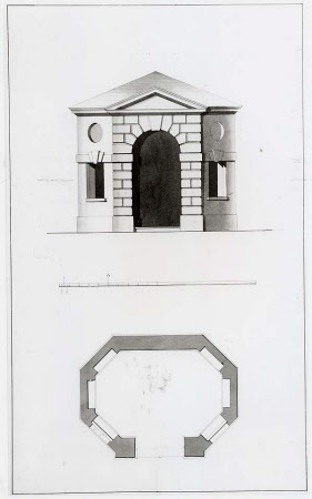 Drawing for an octagonal garden pavilion, elevation and plan, at Wimpole, Cambridgeshire