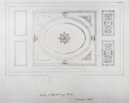 Design for the ceiling of the Red Room at Wimpole Hall, Cambridgeshire