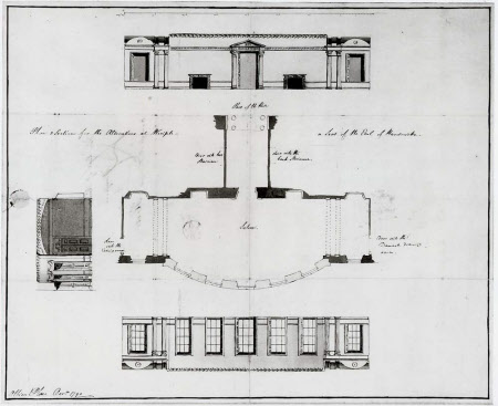 Plan and sections for a bombé-fronted Saloon at Wimpole Hall, Cambridgeshire