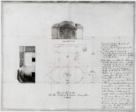 Plan and section of the Yellow Drawing Room at Wimpole Hall, Cambridgeshire, with key.