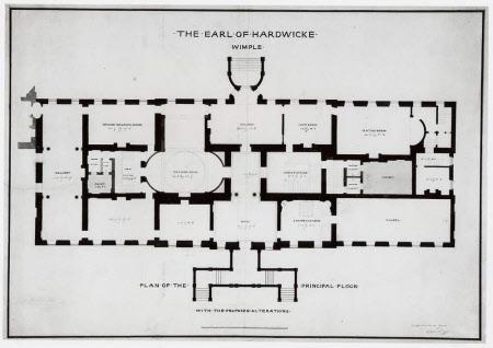 Plan of the ground floor of Wimpole Hall, Cambridgeshire