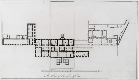 Survey plan of the basement floor of Wimpole Hall, Cambridgeshire, with flap