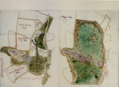 'Before' and 'after' plans of the North Park at Wimpole, Cambridgeshire