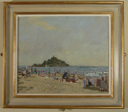 Morning, Marazion Beach Scene with St Michael's Mount, Cornwall in the distance