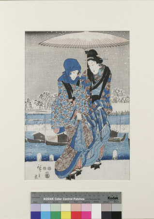 Winter Scene with two Japanese Ladies in Blue
