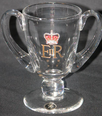 Two handled glass goblet commemorating Queen Elizabeth II (b.1926)