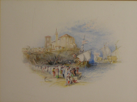 A Harbour Scene with Ships and People on the Wharf