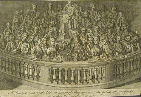 David Garrick (1717-1779) reciting the Ode in honour of Shakespeare at the Jubilee at Stratford ...