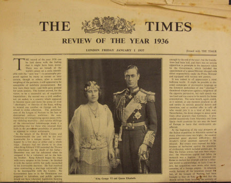 The Times, January 1 1937. Supplement 'Review of the Year 1936' - King George VI (1895-1952) and ...