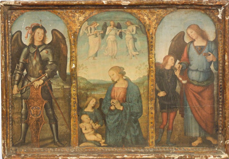 Triptych of Archangel Michael, the Virgin and Child with an Angel and the Archangel Raphael with ...