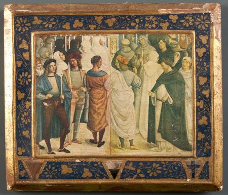 Detail from Pope Pius II (Aeneas Silvio Piccolomini) (1405-1464) canonising St Catherine of Siena
