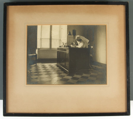 Alice Ruth Lechmere (1892-1971) at her desk while working as matron of the Anglo-American nursing ...